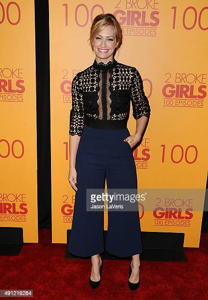 Actress Beth Behrs attends the 100th episode celebration of CBS' '2 Broke Girls' at Mrs Fish on October 3 2015 in Los Angeles California