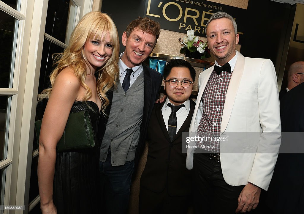 Actress <a gi-track='captionPersonalityLinkClicked' href=/galleries/search?phrase=Beth+Behrs&family=editorial&specificpeople=6556378 ng-click='$event.stopPropagation()'>Beth Behrs</a>, Executive Producer <a gi-track='captionPersonalityLinkClicked' href=/galleries/search?phrase=Michael+Patrick+King&family=editorial&specificpeople=213304 ng-click='$event.stopPropagation()'>Michael Patrick King</a>, actor Matthew Moy and L'Oreal Executive Steven Waldberg attend the L'Oreal cocktail party prior to the HBO Luxury Lounge at Four Seasons Hotel Los Angeles at Beverly Hills on January 11, 2013 in Beverly Hills, California.