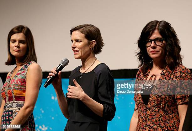 Actress Betsy Brandt and writer/directors Lisa Robinson and Annie J Howell speak onstage during the premiere of 'Claire in Motion' during the 2016...