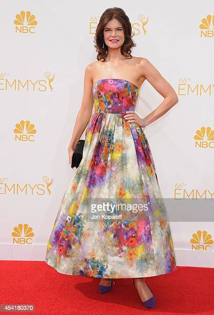 Actress Betsy Brandt arrives at the 66th Annual Primetime Emmy Awards at Nokia Theatre LA Live on August 25 2014 in Los Angeles California