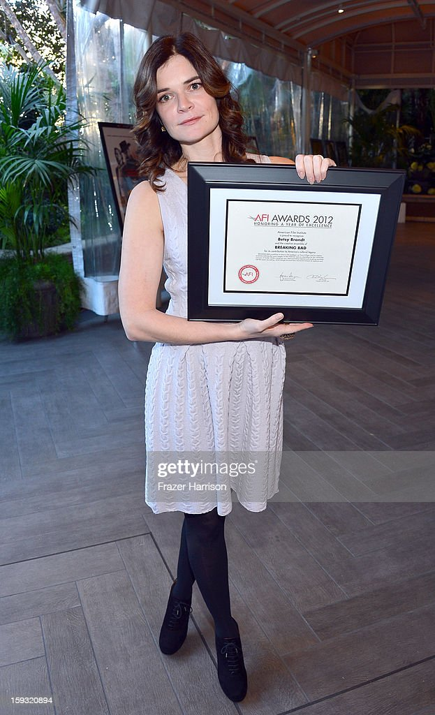 Actress <a gi-track='captionPersonalityLinkClicked' href=/galleries/search?phrase=Betsy+Brandt&family=editorial&specificpeople=4819893 ng-click='$event.stopPropagation()'>Betsy Brandt</a> attends the 13th Annual AFI Awards at Four Seasons Los Angeles at Beverly Hills on January 11, 2013 in Beverly Hills, California.