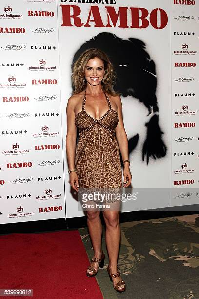 Actress Betsy Russell arrives at the world premiere of the movie 'Rambo' held at the Planet Hollywood Resort and Casino in Las Vegas