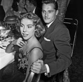 Actress Betsy von Furstenberg and Conrad 'Nicky' Hilton Jr enjoy the tony atmosphere at the Cocoanut Grove Nightclub at the Ambassador Hotel on...