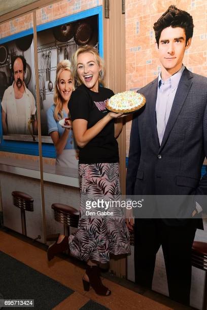Actress Betsy Wolfe attends the unveiling of the new diner themed front of house for 'Waitress' at Brooks Atkinson Theatre on June 13 2017 in New...