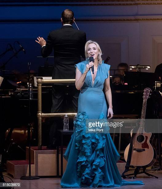 Actress Betsy Wolfe performs during The New York Pops Darren Criss and Betsy Wolfe in Concert at Carnegie Hall on March 11 2016 in New York City