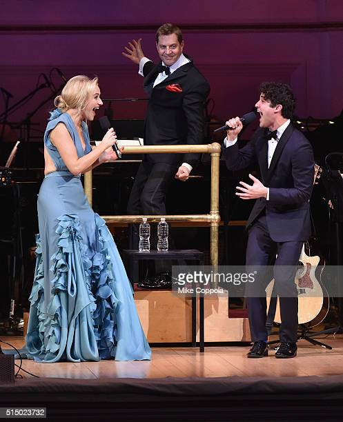 Actress Betsy Wolfe The New York Pops Muisic Director Steven Reineke and Actor/musician Darren Criss perform at The New York Pops Darren Criss and...