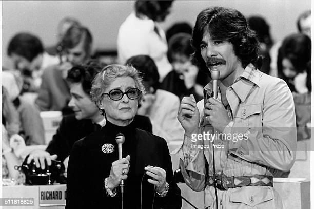 Actress Bette Davis and Geraldo Rivera at the WABCTV studios during a telethon in New York City circa 1973