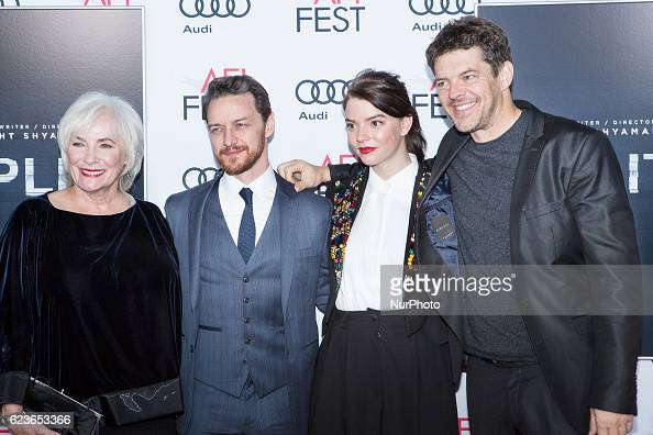 Actress Betty Buckley actor James McAvoy actress Anya TaylorJoy and producer Jason Blum attend the premier of Split at AFI Fest 2016 presented by...