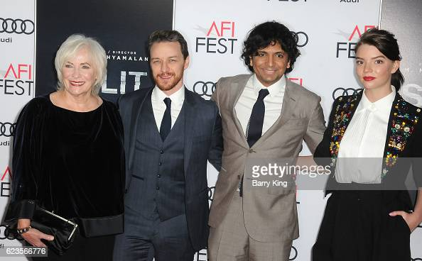 Actress Betty Buckley actor James McAvoy director/writer/producer M Night Shyamalan and actress Anya TaylorJoy attend AFI FEST 2016 Presented By Audi...
