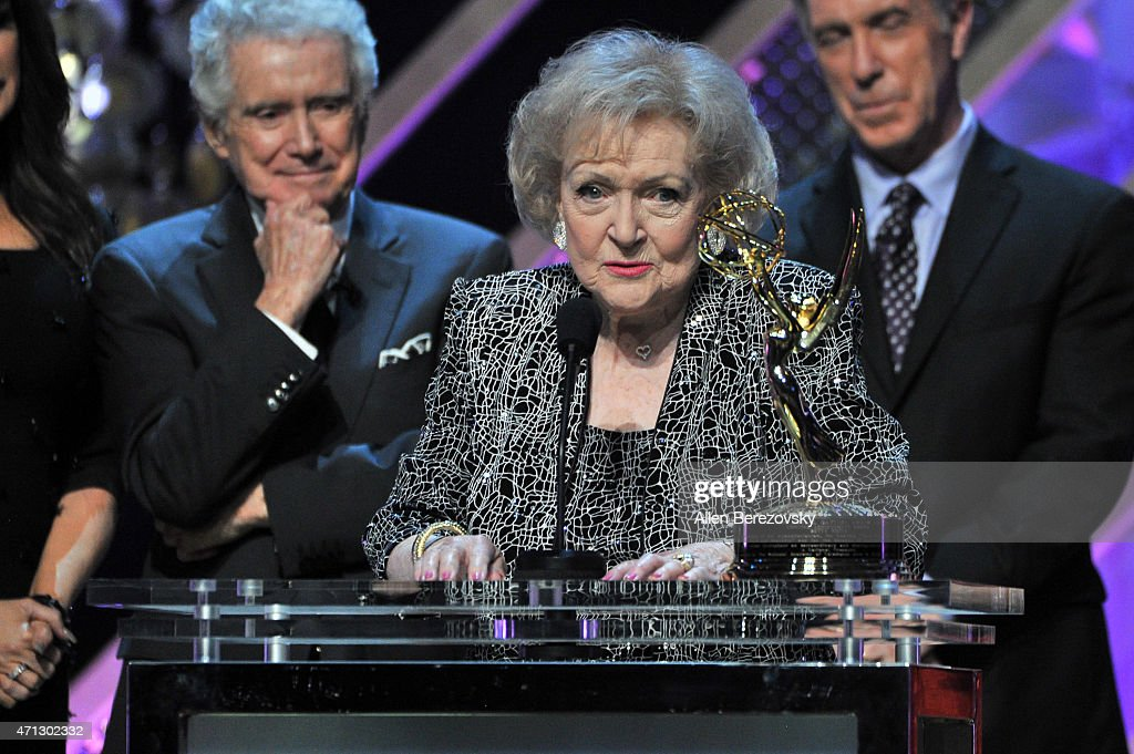 Actress Betty White accepts Daytime Emmy Lifetime Achievement Award onstage during the 42nd Annual Daytime Emmy Awards at Warner Bros Studios on...