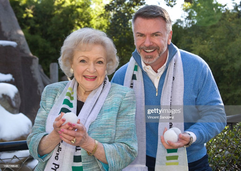 Actress <a gi-track='captionPersonalityLinkClicked' href=/galleries/search?phrase=Betty+White&family=editorial&specificpeople=213602 ng-click='$event.stopPropagation()'>Betty White</a> and President and CEO Scott Page attend the 'White Hot' holiday event at Los Angeles Zoo on December 11, 2012 in Los Angeles, California.