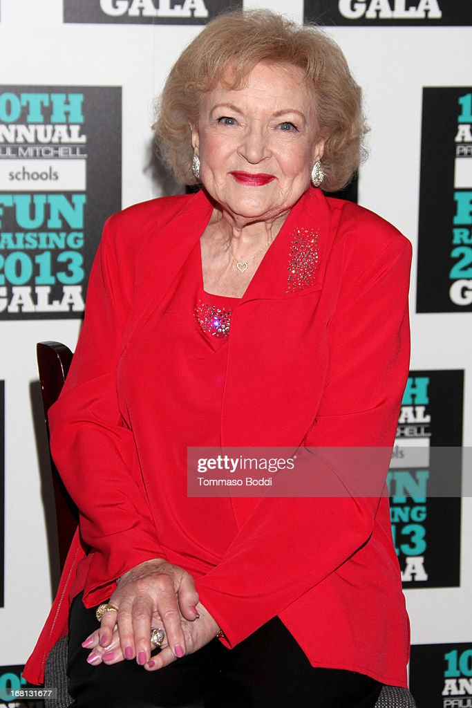 Actress <a gi-track='captionPersonalityLinkClicked' href=/galleries/search?phrase=Betty+White&family=editorial&specificpeople=213602 ng-click='$event.stopPropagation()'>Betty White</a> attends the Paul Mitchell's 10th Annual Fundraiser held at The Beverly Hilton Hotel on May 5, 2013 in Beverly Hills, California.