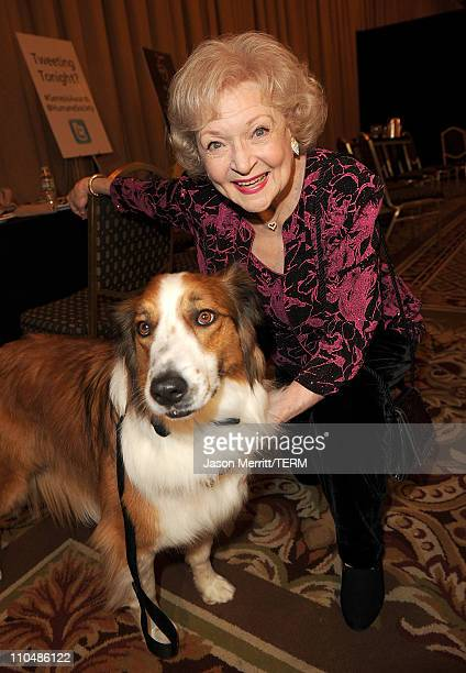 Actress Betty White backstage at the 25th Anniversary Genesis Awards hosted by the Humane Society of the United States held at the Hyatt Regency...