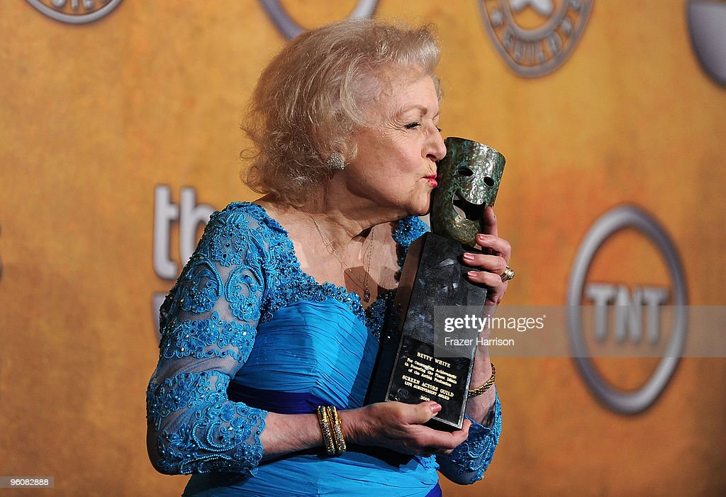 Actress <a gi-track='captionPersonalityLinkClicked' href=/galleries/search?phrase=Betty+White&family=editorial&specificpeople=213602 ng-click='$event.stopPropagation()'>Betty White</a> poses with the Life Achievement Award in the press room at the 16th Annual Screen Actors Guild Awards held at the Shrine Auditorium on January 23, 2010 in Los Angeles, California.