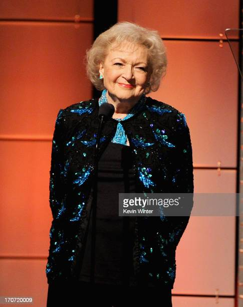 Actress Betty White speaks onstage during The 40th Annual Daytime Emmy Awards at The Beverly Hilton Hotel on June 16 2013 in Beverly Hills California