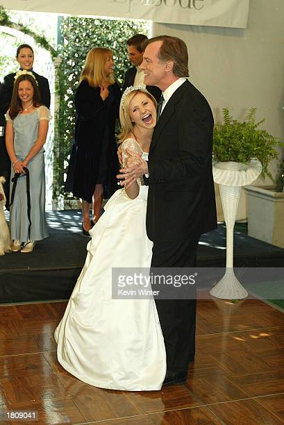Actress Beverley Mitchell and dances with her tv dad actor Stephen Collins at a reception to celebrate 150 episodes of The WB's '7th Heaven' on...