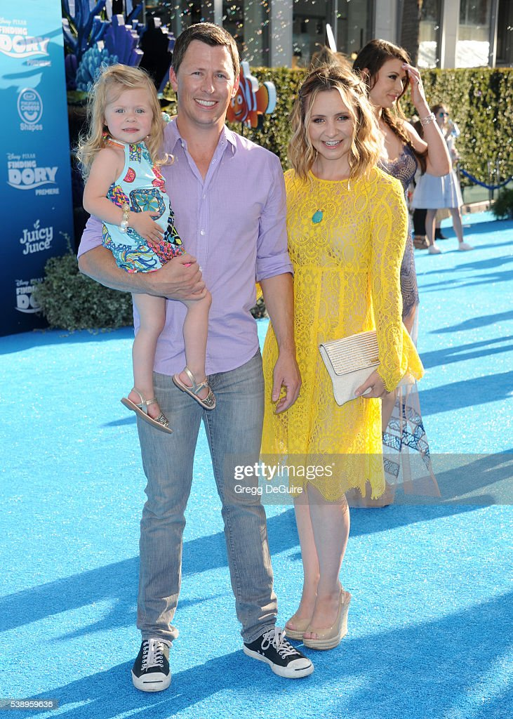 Actress Beverley Mitchell husband Michael Cameron and daughter Kenzie Cameron arrive at the World Premiere of DisneyPixar's 'Finding Dory' at the El...