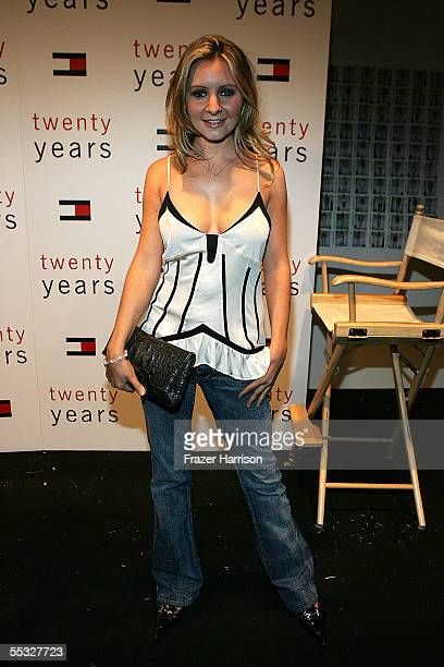 Actress Beverly Mitchell poses backstage at the Tommy Hilfiger Spring 2006 fashion show during Olympus Fashion Week at Bryant Park September 9 2005...
