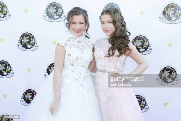 Actress Bianca D'Ambrasio and Chiara D'Ambrosio attend the 2nd Annual Young Entertainer Awards at the Globe Theatre on March 19 2017 in Universal...