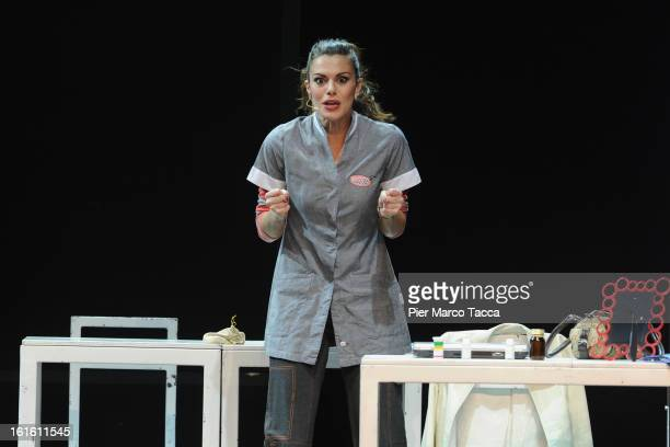 Actress Bianca Guaccero performs at Teatro Nuovo on February 12 2013 in Milan Italy