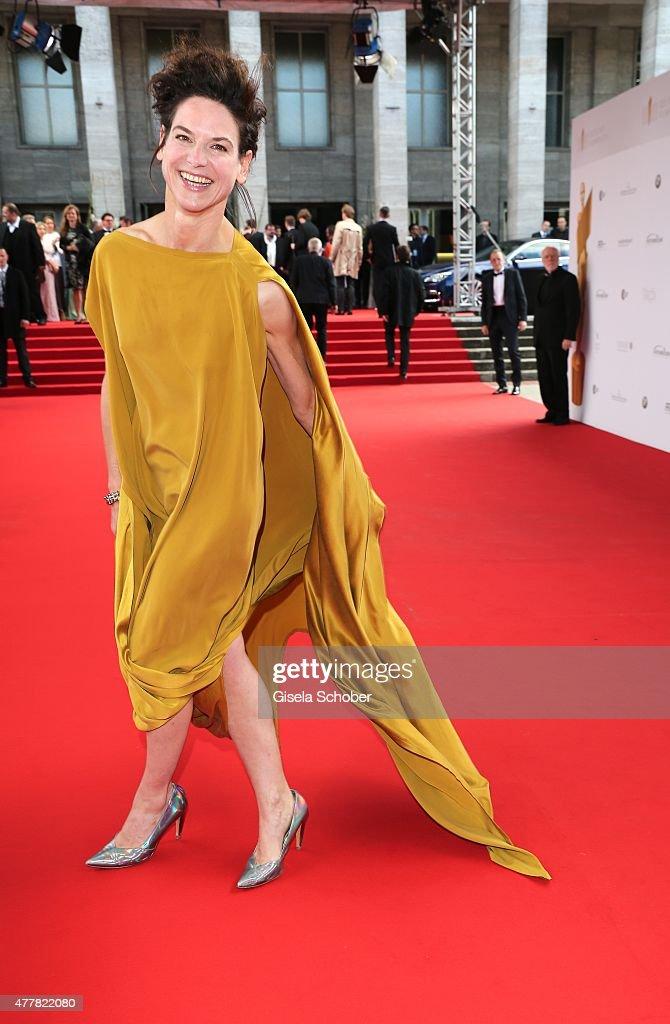 Actress Bibiana Beglau arrives for the German Film Award 2015 Lola (Deutscher Filmpreis) at Messe Berlin on June 19, 2015 in Berlin, Germany.