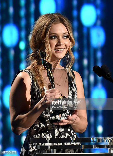 Actress Billie Lourd accepts the Jean Hersholt Humanitarian Award on behalf of her grandmother Debbie Reynolds during the Academy of Motion Picture...