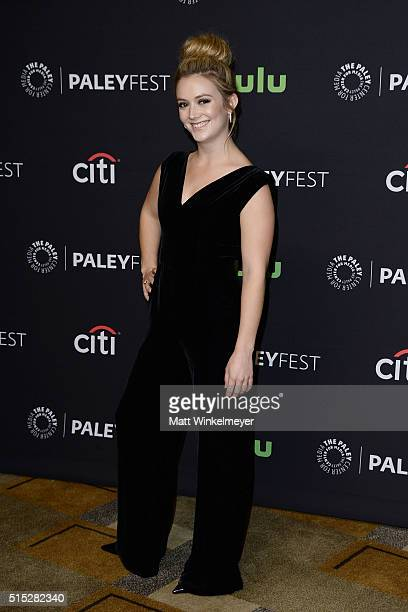 Actress Billie Lourd arrives at The Paley Center For Media's 33rd Annual PALEYFEST Los Angeles 'Scream Queens' at Dolby Theatre on March 12 2016 in...
