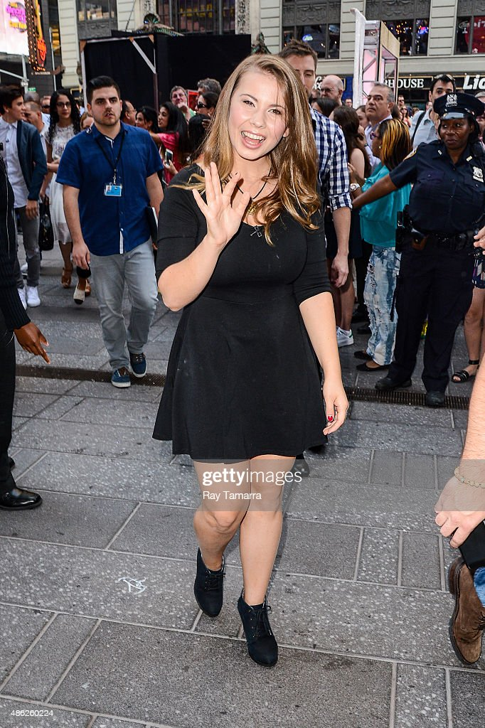 Actress Bindi Irwin leaves the 'Good Morning America' taping at the ABC Times Square Studios on September 2 2015 in New York City