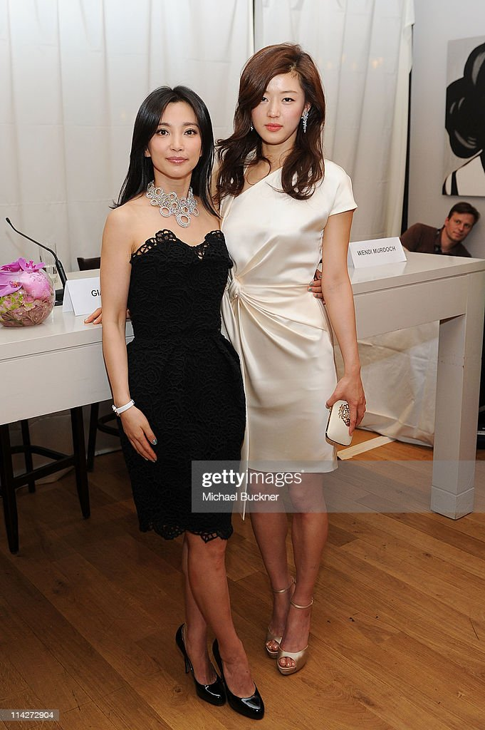 Actress Bing Bing Li and Gianna Jun attend the 'Snow Flower and the Secret Fan' Luncheon at the Carlton Beach during the 64th Cannes Film Festival on...