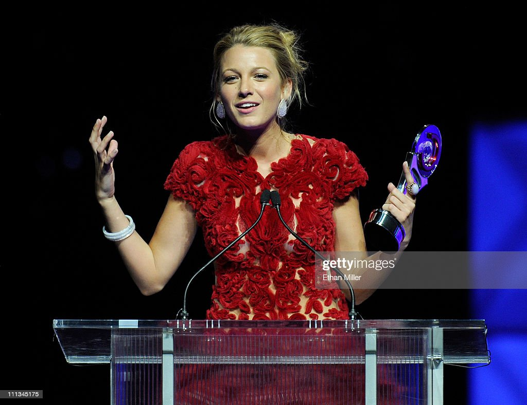Actress Blake Lively accepts the Breakthrough Performer of the Year award at the CinemaCon awards ceremony at The Colosseum at Caesars Palace during CinemaCon, the official convention of the National Association of Theatre Owners, March 31, 2011 in Las Vegas, Nevada.