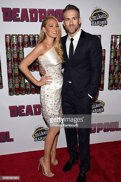 Actress Blake Lively and actor Ryan Reynolds attend the 'Deadpool' fan event at AMC Empire Theatre on February 8 2016 in New York City