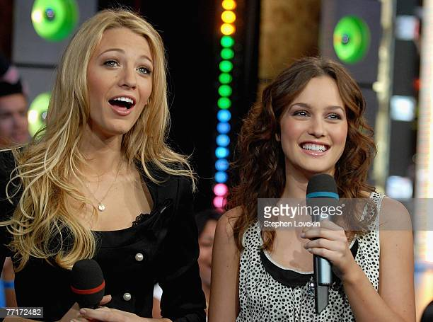 Actress Blake Lively and actress Leighton Meester from 'Gossip Girl' at MTV's TRL in New York City on October 1st 2007