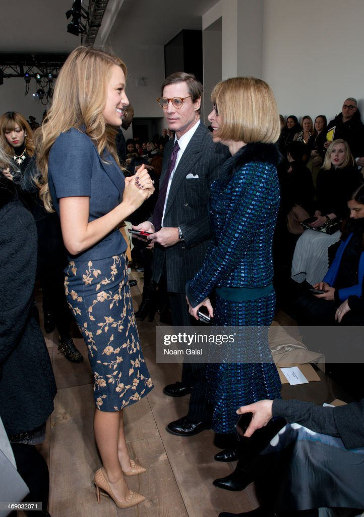 Actress <a gi-track='captionPersonalityLinkClicked' href=/galleries/search?phrase=Blake+Lively&family=editorial&specificpeople=221673 ng-click='$event.stopPropagation()'>Blake Lively</a> and <a gi-track='captionPersonalityLinkClicked' href=/galleries/search?phrase=Anna+Wintour&family=editorial&specificpeople=202210 ng-click='$event.stopPropagation()'>Anna Wintour</a> attend the Michael Kors Show during Mercedes-Benz Fashion Week Fall 2014 at Spring Studios on February 12, 2014 in New York City.