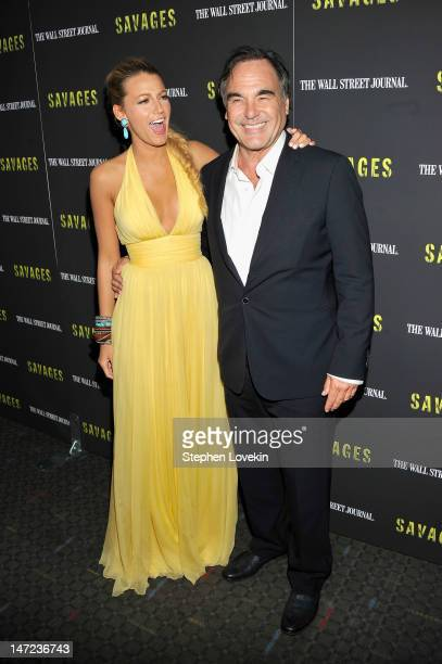 Actress Blake Lively and Director Oliver Stone attend the 'Savages' New York premiere at SVA Theater on June 27 2012 in New York City