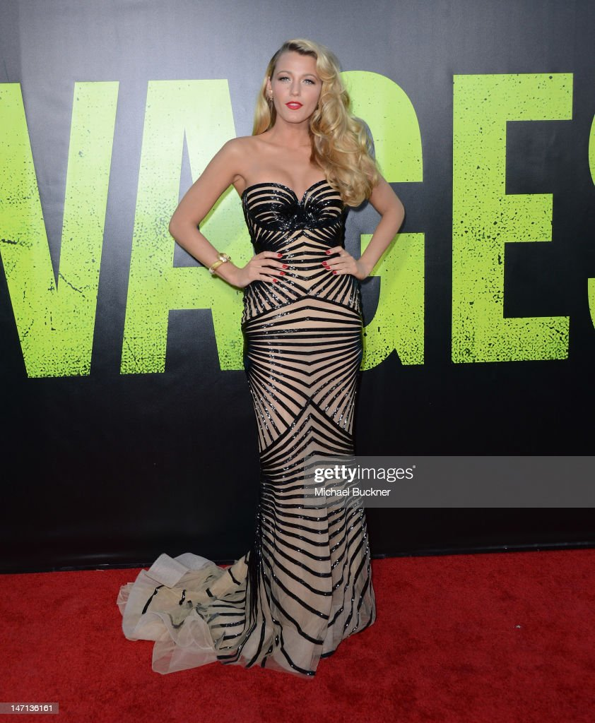 Actress <a gi-track='captionPersonalityLinkClicked' href=/galleries/search?phrase=Blake+Lively&family=editorial&specificpeople=221673 ng-click='$event.stopPropagation()'>Blake Lively</a> arrives at the premiere of Universal Pictures' 'Savages' at Westwood Village on June 25, 2012 in Los Angeles, California.