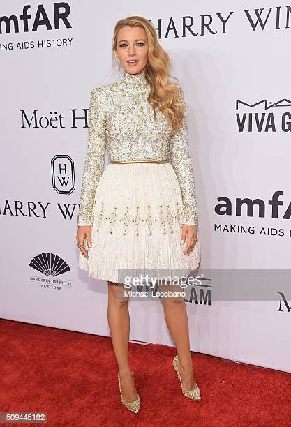 Actress Blake Lively attends 2016 amfAR New York Gala at Cipriani Wall Street on February 10 2016 in New York City