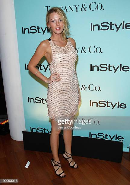 Actress Blake Lively attends a cocktail party honoring two greats at their game hosted by InStyle and Tiffany Co at The Cooper Square Hotel Penthouse...