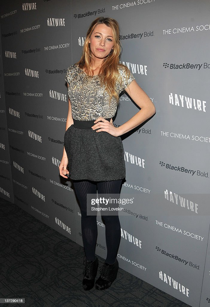 Actress Blake Lively attends the Cinema Society Blackberry Bold screening of 'Haywire' at Landmark Sunshine Cinema on January 18 2012 in New York City