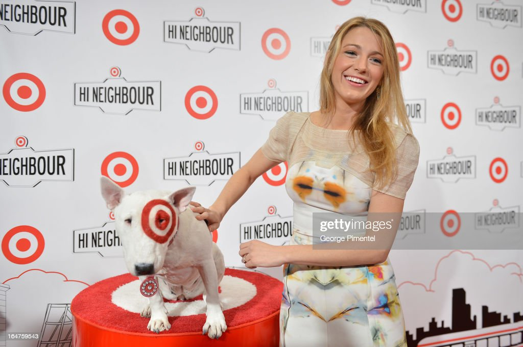 Actress <a gi-track='captionPersonalityLinkClicked' href=/galleries/search?phrase=Blake+Lively&family=editorial&specificpeople=221673 ng-click='$event.stopPropagation()'>Blake Lively</a> attends the opening of Target at Shoppers World Danforth on March 27, 2013 in Toronto, Canada.