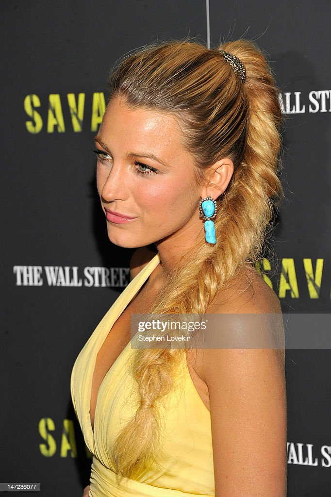 Actress <a gi-track='captionPersonalityLinkClicked' href=/galleries/search?phrase=Blake+Lively&family=editorial&specificpeople=221673 ng-click='$event.stopPropagation()'>Blake Lively</a> attends the 'Savages' New York premiere at SVA Theater on June 27, 2012 in New York City.