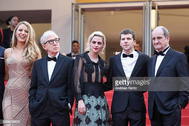Actress Blake Lively director Woody Allen actress Kristen Stewar actor Jesse Eisenberg and the President of the Festival Pierre Lescure attend the...