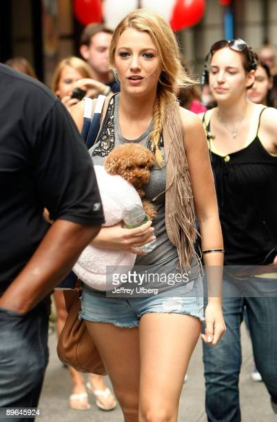 Actress Blake Lively is seen on the set of the television series 'Gossip Girl' on the streets of Manhattan on August 6 2009 in New York City