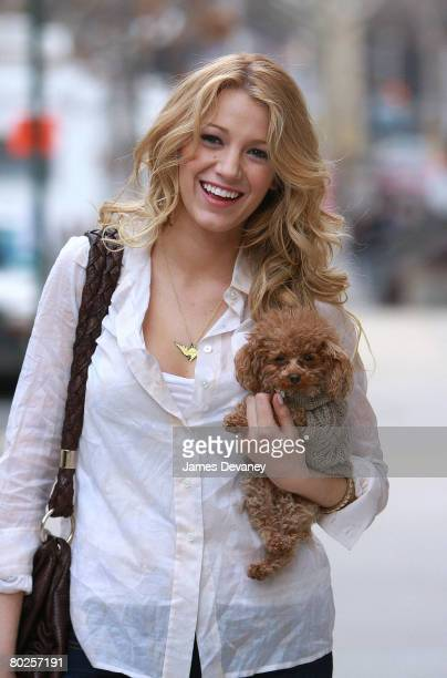 Actress Blake Lively on location for 'Gossip Girl' on March 14 2008 in New York City