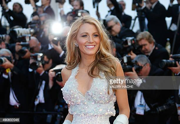 US actress Blake Lively poses as she arrives for the screening of the film 'Mr Turner' at the 67th edition of the Cannes Film Festival in Cannes...