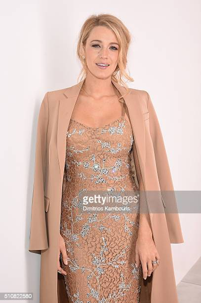 Actress Blake Lively poses backstage at the Michael Kors Fall 2016 Runway Show during New York Fashion Week The Shows at Spring Studios on February...