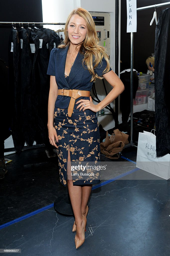 Actress <a gi-track='captionPersonalityLinkClicked' href=/galleries/search?phrase=Blake+Lively&family=editorial&specificpeople=221673 ng-click='$event.stopPropagation()'>Blake Lively</a> poses backstage at the Michael Kors fashion show during Mercedes-Benz Fashion Week Fall 2014 at Spring Studios on February 12, 2014 in New York City.