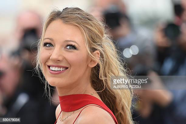 US actress Blake Lively poses on May 11 2016 during a photocall for the film 'Cafe Society' ahead of the opening of the 69th Cannes Film Festival in...