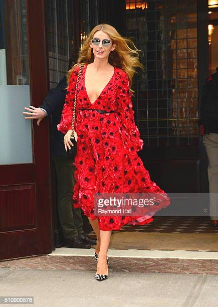 Actress Blake Lively seen leaving a hotel in Soho on February 17 2016 in New York City