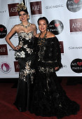 Actress Blanca Blanco and designer Sue Wong attend the Art Hearts Fashion Opening Night with Sue Wong's Runway Fashion Show 'Mythos And Goddesses'...