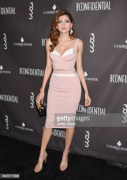 Actress Blanca Blanco arrives at the Los Angeles Confidential Winter Issue celebration with cover star Zoe Saldana at 3033 Wilshire on February 16...